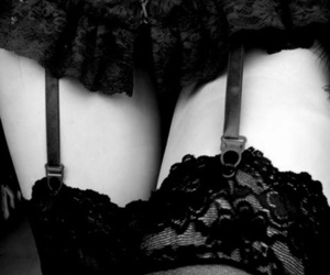sexy, lingerie, and black and white image