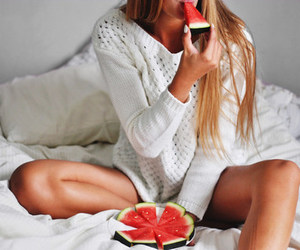 bed, bedroom, and fruit image