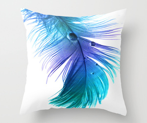 bed, blue, and feather image