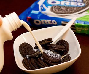 oreo, milk, and food image
