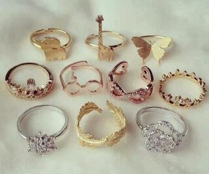 gold, rings, and pink image