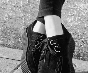 black, black shoes, and creepers image
