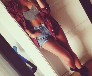 cropped, denim shorts, and flannel image
