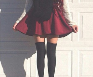skirt, socks, and style image