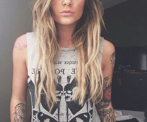 tattoo, girl, and blonde image