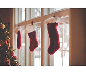 christmas, santa, and stockings image