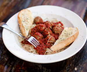 food, meatball, and pasta image