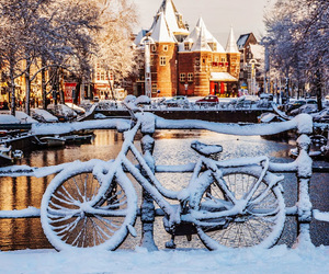 winter, bike, and snow image