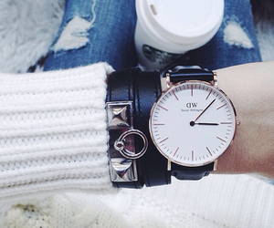 jeans, starbucks, and watch image