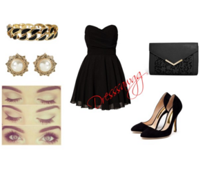 black dress, makeup, and outfit image