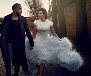 kim kardashian, kanye west, and vogue image