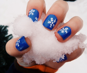 blue, nails, and snow image