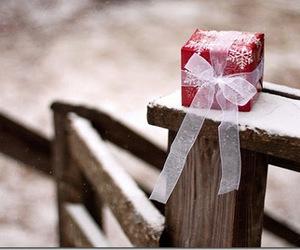 snow, christmas, and gift image