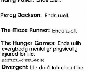 harry potter, the hunger games, and divergent image