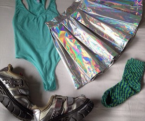 hologram, skirt, and pale image