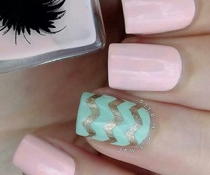 nails, pink, and chevron image