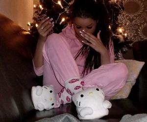 hello kitty, pink, and brunette image