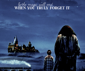 harry potter, hagrid, and hogwarts image