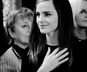 emma watson and black and white image