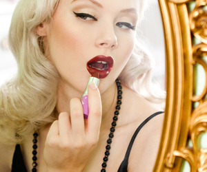 blonde, make-up, and makeup image