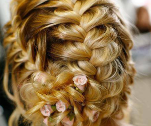 hair, braid, and flowers image