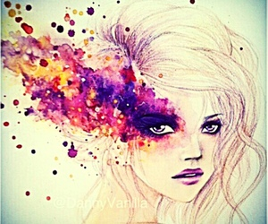 art, beautiful, and eye make up image