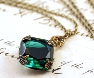 gold, emerald, and jewelry image