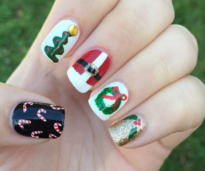 nails, candy cane, and christmas image