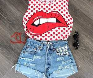 fashion, outfit, and lips image