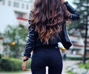 hair, outfit, and black image