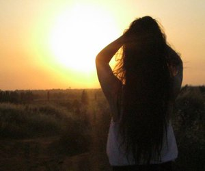 brunette, sunset, and love image