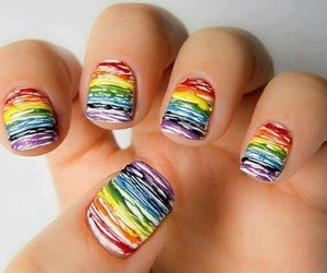 nails, rainbow, and colors image