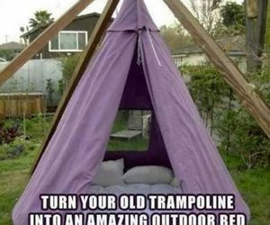 trampoline, bed, and creative image
