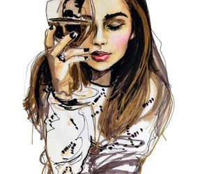 girl, art, and wine image