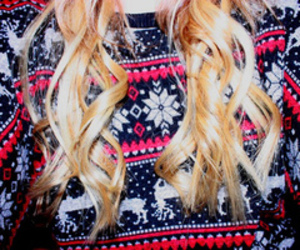 hair, blonde, and sweater image