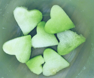 green, heart, and melone image