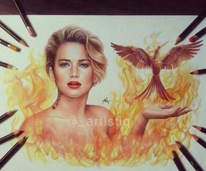 Jennifer Lawrence, drawing, and mockingjay image