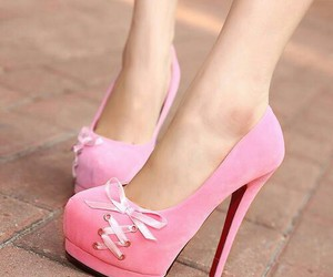 bow, high heels, and pink image