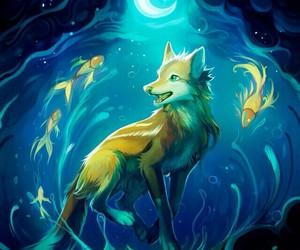 fish, fox, and moon image