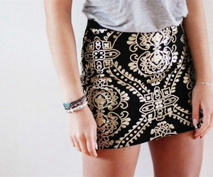 fashion, skirt, and gold image