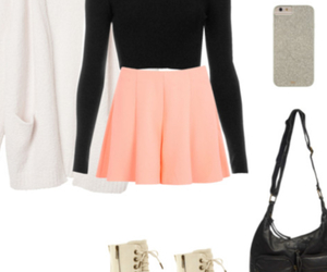 white sweater, coral skirt, and black crossbody bag image
