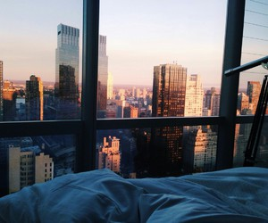 bed, city, and clouds image