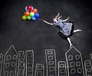 balloons, girl, and chalk image