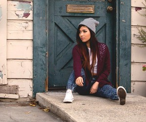 beanie, cardigan, and clothes image