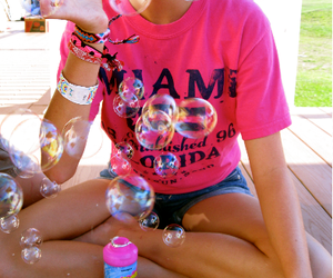 bubbles, girl, and pink image