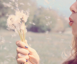 girl, flowers, and blow image