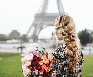 paris, flowers, and hair image