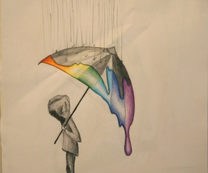 drawing, rain, and sad image