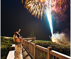 fireworks, couple, and wedding image