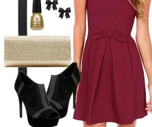burgundy, dress, and fashion image